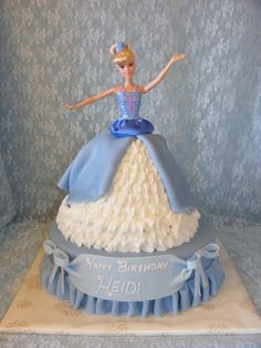 """Pedestal cake is 12 inches and I made the doll with the Wondermold pan plus one 8 inch 3"""" deep round. This is the Cinderella ballerina doll..."""