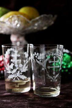 アンティークバカラ タンブラー クリスタルガラス ロレーヌ十字 アザミ スズラン