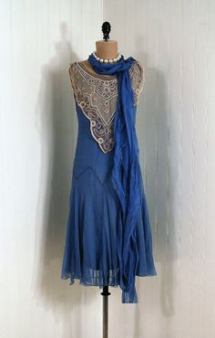 Party Dress: 1920's, French, silk crepe chiffon, embroidered mixed-lace bib collar, inner slip, Deco drop-waist zig-zag design, matching skinny neck scarf.