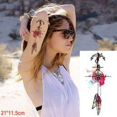 Waterproof Temporary Tattoo Sticker dreamcatcher fox mermaid henna tatto stickers flash tatoo fake tattoos for women girl 7