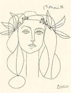 Pablo Picasso drawing of Francoise Gilot - the only woman to survive a… Picasso Sketches, Art Picasso, Picasso Drawing, Painting & Drawing, Picasso Tattoo, Picasso Prints, Picasso Paintings, Matisse Tattoo, Pablo Picasso Artwork