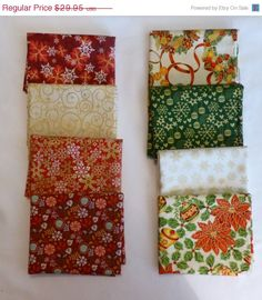 Fantastic January SALE - Cotton Fabric, Home Decor, Craft, Quilt, Christmas Fat Quarter Bundle of 8 Fat Qtrs, Collection 2 Red Green Gold,Fa
