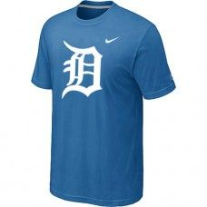 Wholesale Men Detroit Tigers Heathered Blended Short Sleeve Light Blue T-Shirt_Detroit Tigers T-Shirt