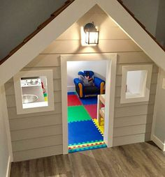 DIY playhouse built under stairs Under Stairs Playroom, Under Stairs Playhouse, Indoor Playhouse, Build A Playhouse, Playroom Ideas, Playhouse Ideas, Cheap Basement Ideas, Kids Basement, Basement Kitchenette