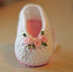 Crochet Baby Booties - Baby Girl Booties -  Ballet Slippers with Tiny Roses - Newborn to 6-12 mos sizes.. $18.00, via Etsy.