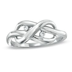 Diamond Accent Infinity Knot Ring in Sterling Silver - Zales