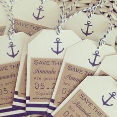 Nautical Wedding Inspiration Nautical save the date tags Boat Wedding, Yacht Wedding, Cruise Wedding, Seaside Wedding, Beach Wedding Favors, Wedding Events, Destination Wedding, Wedding Planning, Beach Weddings