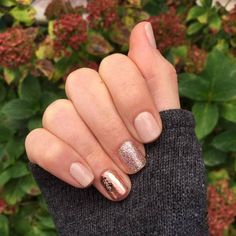 neutral nails with glitter and a copper accent one #FunNailArt