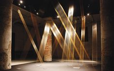 Lygia Pape  Web #1, C  2008 (Venice Bienalle)  Golden thread in square forms