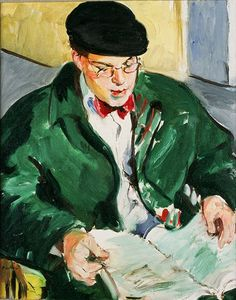 Sandra Fisher David Cohen Reading 1992 oil on canvas, 40 x 30 inches Collection of Max Kitaj (c) Estate of Sandra Fisher