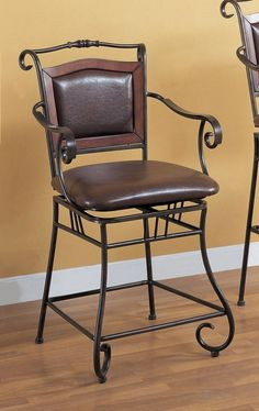 """Amazon.com - Coaster 24""""H Counter Height Stool European Style Dark Distressed Gold Metal Finish - Barstools With Backs"""
