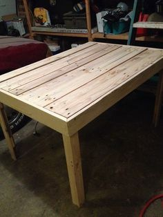Kitchen table before stain