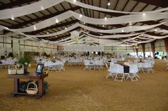 Ideas for decorating the arena . Horse Wedding, Wedding Fun, Wedding Colors, County Fairgrounds, Horse Arena, Pavilion Wedding, Church Events, Company Picnic, Country Wedding Dresses
