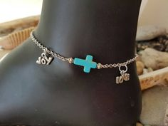 Turquoise Love Joy Sideways Cross Anklet Vegan by WaterRhythmGems