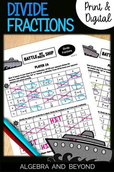 Students practice dividing fractions in this fun battleship activity! Print and digital versions (Google Slides) are included so you can use for in the classroom or virtual learning. Students love to sink ships!!! Math Teacher, Math Classroom, Teaching Math, Middle School, High School, Fraction Games, Dividing Fractions, Math Boards, Precalculus