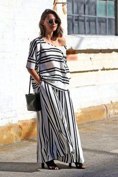Eleanor Pendleton // wavy bob, round sunglasses, striped top, matching striped wide-leg pants #style #fashion #streetstyle