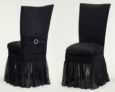 Black Suede Chameleon Chair Cover with Jewel Belt, Cushion and Black Organza Skirt, available exclusively at @carly k. Whitmore Inc.