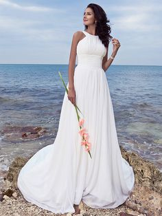 Lan Ting Sheath/Column Plus Sizes Wedding Dress - Ivory Sweep/Brush Train Jewel Chiffon - USD $ 85.49