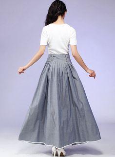 Falda gris de Maxi falda larga de algodón con Piping de