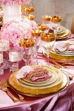 Contemporary Wedding Reception Ideas / pink & gold.♥