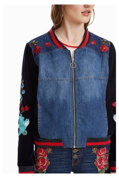 Angel is the first Desigual Wow shop boutique in Vancouver, Canada. We carry the latest Desigual for men, women and kids. Redo Clothes, Clothing Redo, Denim Bomber Jacket, Embroidered Bird, Tottori, Fall Winter, Rising Sun, Black Velvet, Vancouver