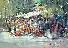Lantern shop, Hoi An (watercolor, 36x50 cm)