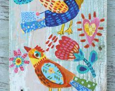 Hello Birds Original Painting Folk Art by evesjulia12 on Etsy