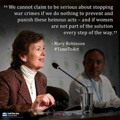 Mary Robinson, the former President of Ireland, writes a guest post for @Nicholas Kristof's blog discussing the sexual violence women and girls face during conflict, and the role women must play in peace negotiations in order for them to be successful. Robinson is speaking this week at the Global Summit to End Sexual Violence in Conflict. Read more via @The New York Times. #TimeToAct #VAW #quote