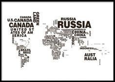 Tavla med svartvit världskarta med text. Affisch, plansch med världens länder i text.