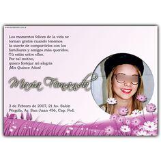 Quinceanera invitation card.  Tarjeta invitación para 15 años.