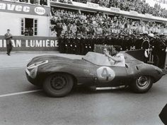 Johnny Claes Driving His Jaguar D Type Race Car 1955 Kind-Hearted Old Large Historic Photo Postcards