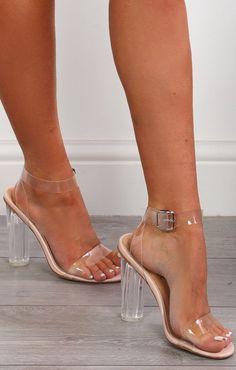 Perspex Barely There Clear Nude Block Heels-Mara Pale Blue Heels, Nude Heels, Shoes Heels, Prom Heels, Stiletto Heels, Clear Block Heels, Clear High Heels, Clear Shoes, Stilettos