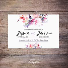 Save the Date, Floral, Flowers, Watercolor Flower, Save-the-Date Card, DIY, Printable Digital File by Larissa Kay Designs