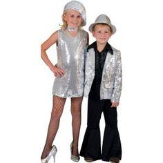 Déguisement disco fille robe disco argent paillettes sequin avec collier disco fille, déguisements enfant, carnaval, anniversaire, fêtes, danse spectacle