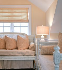 Home Inspiration - Peach Theme: Sunroom Peach Rooms, Peach Bedroom, Dream Bedroom, Fancy Houses, French Country Cottage, Paint Colors For Living Room, Amazing Spaces, Spare Room, New Room