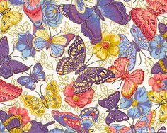 Spring Fever- Butterflies in Flight- Ivory/Gold