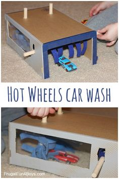 Great boredom buster - turn a shoe box into a car wash for Hot Wheels or Matchbox cars!