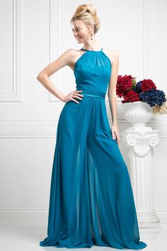 Evening Dress CDP100. A-Line Floor Length Jumper. Sweetheart Neckline and Ankle Length Jumper is Covered by a Sheer Chiffon Overlay with Halter Neck, Low Back with Thin Straps and Zipper Closure, Satin Sash Accents the Waistline and Separates Look. https://www.smcfashion.com/wholesale-evening-dresses/evening-dress-cdp100