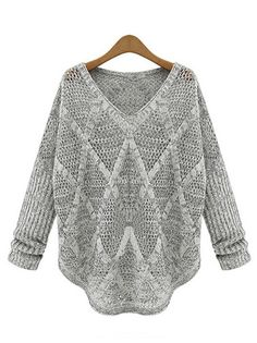 Fashionable Women V-Neck Full Sleeve Asymmetric Hem Loose Knitted Pullover Sweater on buytrends.com