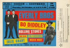Rolling Stones/Everly Brothers/Bo Diddley Early Gaumont Concert Handbill (UK, A rare original concert - Available at 2017 March 18 Entertainment &. Julie Grant, Rolling Stones Album Covers, Groups Poster, Vintage Rock, On October 3rd, Fan Art, Illustrations, Music Lovers, Rock Music
