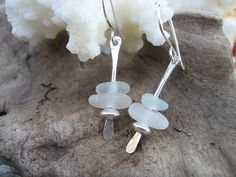 Sea Glass Jewelry  Light Blue and White by SimpleLifeDesigns