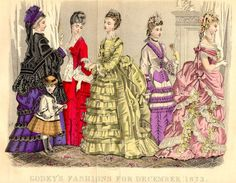 This color fashion plate appeared in the December 1873 issue of Godey's Ladys Book