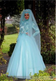 Specials Muslim Hijab And Veil Long Sleeve Ball Gown Ice Blue Wedding Dress From High-Ranking Online Seller Dailyspecialsdress