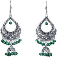 Waama Jewels Green Pearl Silver Plated Chandelier Bali For Party wear Christmas Gift New Year Gift Pearl Brass Dangle Earring