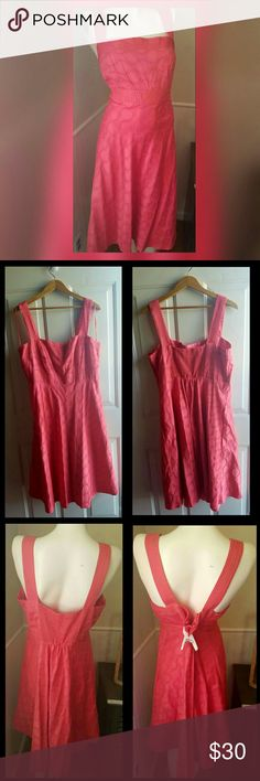 """Coral Polkadot Dress Gently worn. Coral. Below the knee. Zipper on the side. Elastic on the back. 100% cotton. Lined.   Measurements:  Bust 46""""  Waist 37.5"""" Hip 47""""  Inseam length 35"""" Strap Length 6.5""""  Length 41.5""""  Get an additional 30% off when purchasing 3 or more items using the bundle feature. Always willing to negotiate. Sandra Darren Dresses"""