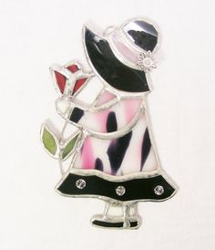 Black  and Pink Polkadot Little Girl with Tulip by MoreThanColors, $60.00