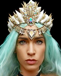 Hair jewelry headpiece wedding rhinestones blue Mermaid hair