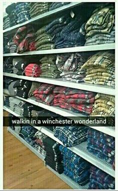 Supernatural haha Winchester Wonderland flanel <can i have one of everything pleas size m. Castiel, Supernatural Memes, Spn Memes, Supernatural Wallpaper, Supernatural Tattoo, Supernatural Costume, Supernatural Merchandise, Mark Sheppard, Sam Dean
