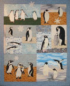 Penguins, a Pattern for a Machine Applique Wall Quilt by Debora Konchinsky Applique Patterns, Quilt Patterns, Applique Quilts, Quilting Ideas, Sewing Stuffed Animals, Stuffed Toys, Penguin Art, Animal Quilts, Machine Applique