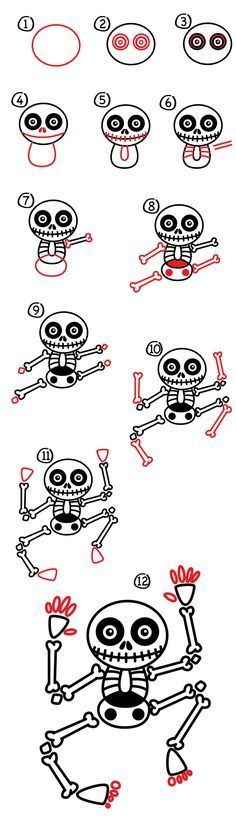 how to draw a skeleton art for kids hub easy halloweenzombie